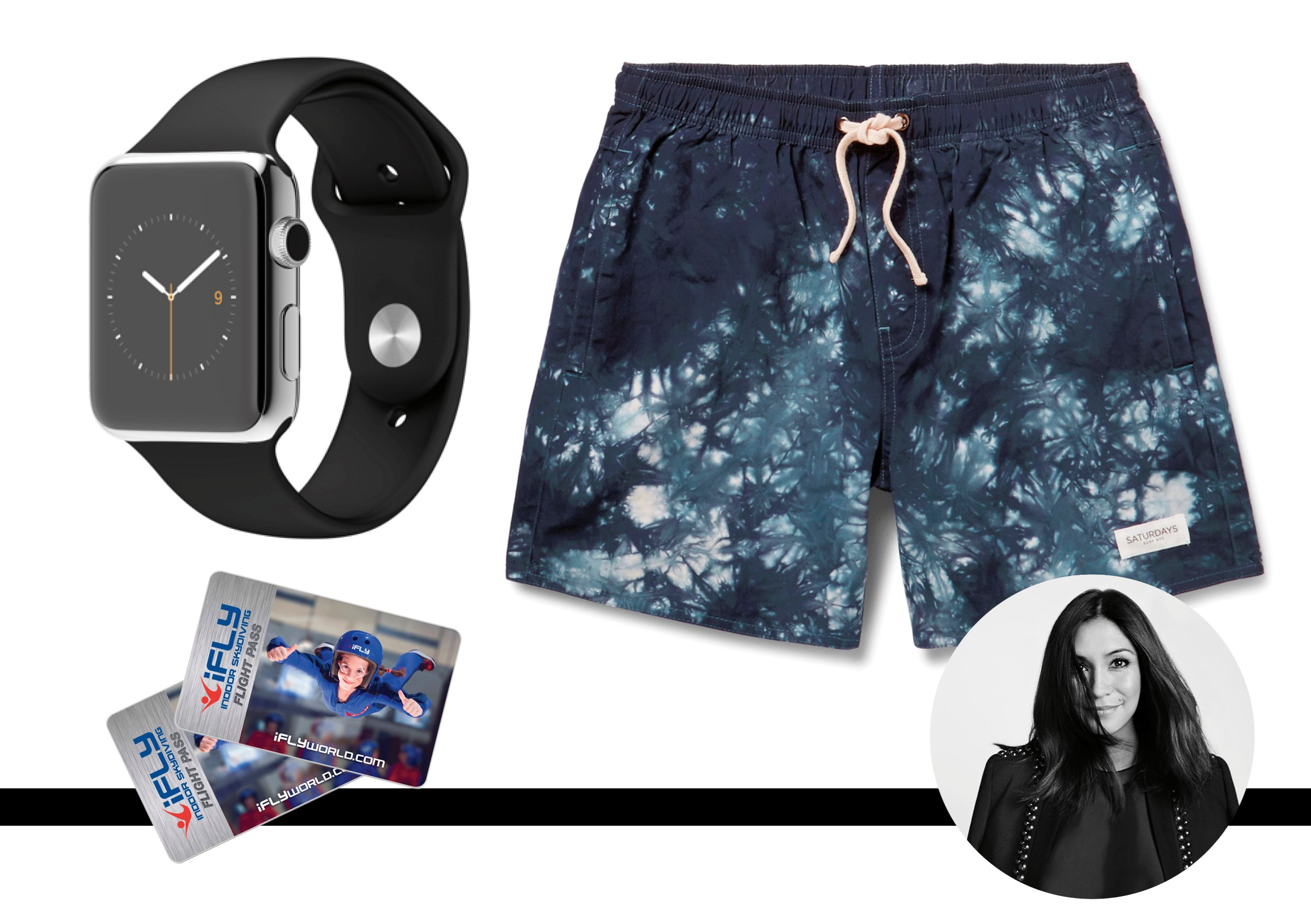 """My husband is notoriously difficult to buy for so I prefer to get him experiences – this year we're going indoor skydiving as a family (because the family that pretends to jump out planes together, stays together). My other go-tos are anything from Saturdays NYC, like these boardshorts, and of course, you can't go wrong with an Apple Watch. <br><br>iFLY Indoor Skydiving session, from $109,  <a href=""""http://www.downunder.iflyworld.com"""">iFLY</a> <br><br>Boardshorts, $108, Saturdays Surf NYC,  <a href=""""http://www.mrporter.com"""">Mr Porter</a> <br><br>Watch, $879, Apple,  <a href=""""http://www.apple.com"""">Apple</a>"""
