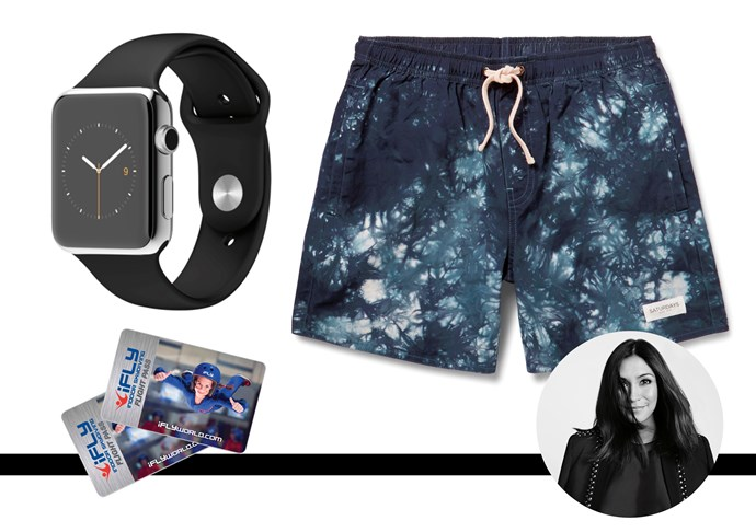 "My husband is notoriously difficult to buy for so I prefer to get him experiences – this year we're going indoor skydiving as a family (because the family that pretends to jump out planes together, stays together). My other go-tos are anything from Saturdays NYC, like these boardshorts, and of course, you can't go wrong with an Apple Watch. <br><br>iFLY Indoor Skydiving session, from $109,  <a href=""http://www.downunder.iflyworld.com"">iFLY</a> <br><br>Boardshorts, $108, Saturdays Surf NYC,  <a href=""http://www.mrporter.com"">Mr Porter</a> <br><br>Watch, $879, Apple,  <a href=""http://www.apple.com"">Apple</a>"