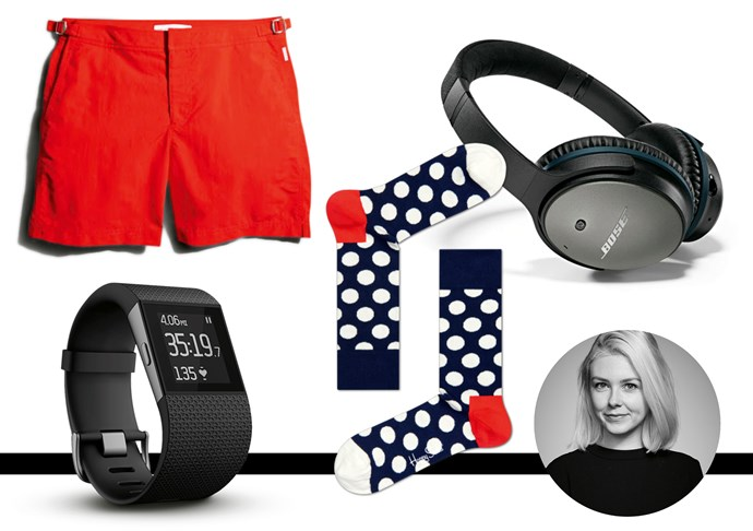 "<strong>Laura Collins, features and culture editor</strong> <br><br>I inherited my Dad's sense of humour and book smarts. The enjoyment he takes in exercise, on the other hand… Fitbit Surge, $349.95, . <a href=""http://www.fitbit.com/au"">Fit Bit</a> <br><br>To replace the fluoro green pair he's worn since 2002. Swim shorts, $202 (28-38), Orlebar Brown, <a href=""http://www.matchesfashion.com/au"">machesfashion.com</a>. <br><br>Mum's a real talker. Bose Noise Cancelling Headphones, $399,<a href=""http://www.myer.com.au"">Myer</a> <br><br>To make up for all the pairs I 'borrowed' (and in his team colours, too!) $16.95 (36-46), Happy Socks, <a href=""http://www.happysocks.com/au"">Happy Socks</a>"