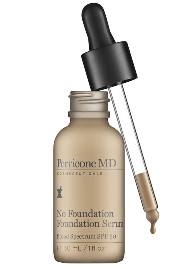 """<a href=""""http://mecca.com.au/perricone-md/no-foundation-foundation-serum/I-022040.html?cgpath=brands-nvperr-makeup#start=1""""><strong>No Foundation Foundation Serum, Perricone MD</strong></a> <br> <br> <em>This lightweight mix walks the line between skincare and makeup perfectly. It shrinks pores on contact and gives the skin a radiant glow while the neuropeptides get to work boosting cell turnover like a luxe serum. Plus is has SPF 30 to boot.</em>"""