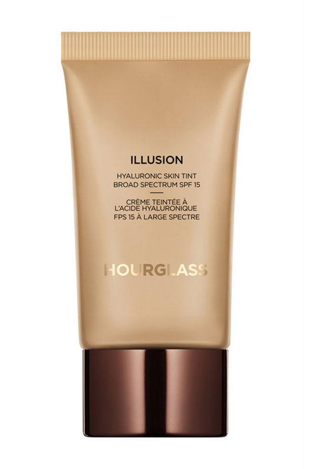 """<a href=""""http://mecca.com.au/hourglass/illusion-hyaluronic-skin-tint/V-022068.html#q=hoiurglass&start=1""""><strong>Illusion Hyaluronic Skin Tint, Hourglass </strong></a> <br> <br> <em>The same whipped formula as the original in a tube, this mega hydrating, medium coverage formula is a saviour to dry skin types. Crepy complexions will drink-up the hyaluronic acid complex within, and instantly reap the long-lasting plumping effects.</em>"""