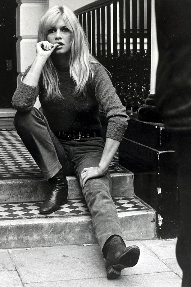 Brigitte Bardot was an impish coquette in jeans throughout the 60s.