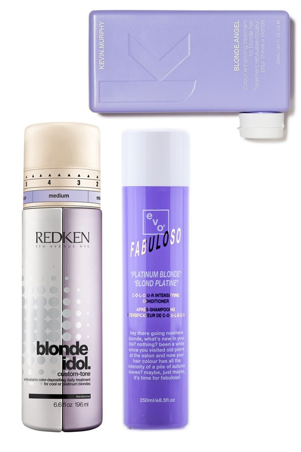 """<strong>Don't forget to tone </strong> <br> <br> The only thing I'd ever ask you to tone down honey, is the brassiness in your blonde. Water, sun, products and time all combine to turn your clean platinum blonde a serious shade of brass. Counteract yellowness with a blue or purple tinted toner, slotted after your conditioner once a week. <a href=""""http://www.myhaircare.com.au/Blonde_Idol_Conditioner_Violet_for_Cool_Blondes_3579.html"""">These </a>three <a href=""""http://kevinmurphy.com.au/product/blonde-angel/"""">all contain</a> a <a href=""""http://evohair.com/au/products/fabuloso/fabuloso-platinum-blonde """">conditioning </a>element so they'll give your brittle lengths a nourishing boost while knocking back brassiness."""