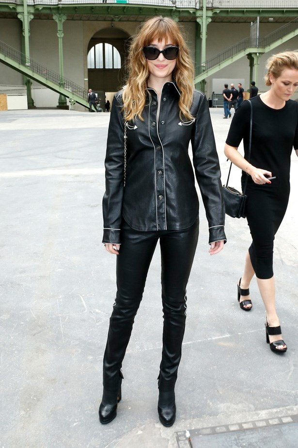 Dakota Johnson attends the Chanel show at Paris Fashion Week - Haute Couture Fall/Winter 2014-2015.