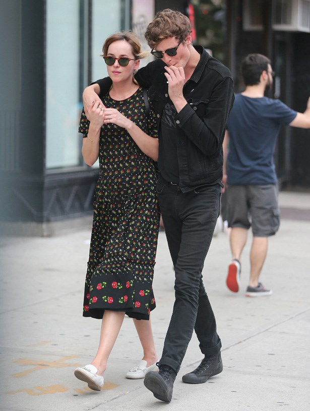 Dakota Johnson with boyfriend Matthew Hitt walking in the East village in 2014.