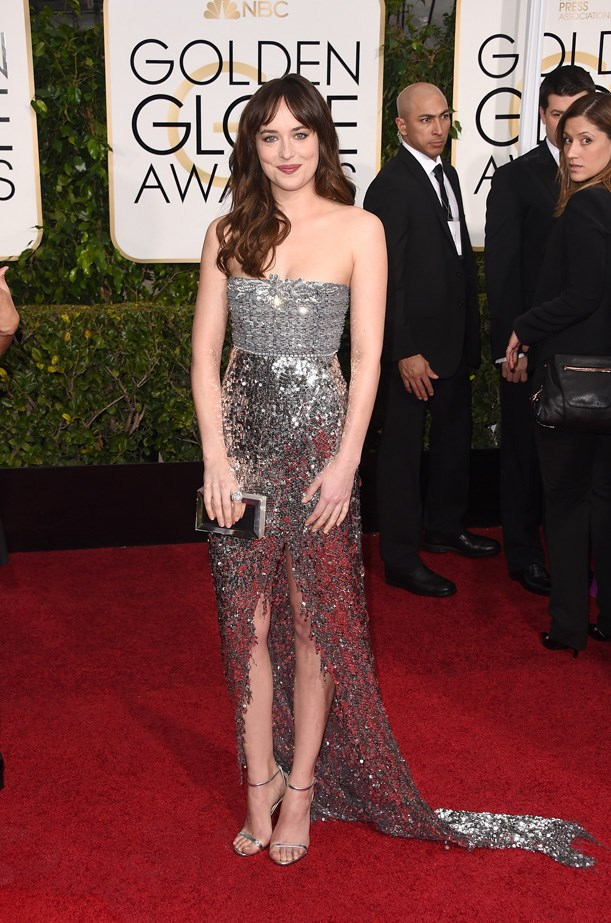 Dakota Johnson stuns in metallics at the 2015 72nd Annual Golden Globe Award.