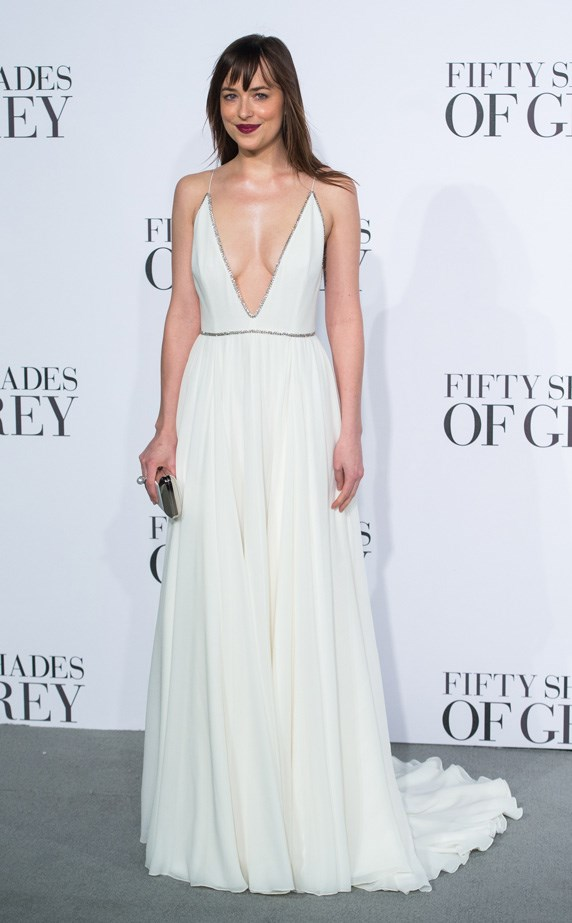 Dakota Johnson attends the UK Premiere of 'Fifty Shades Of Grey' in 2015.