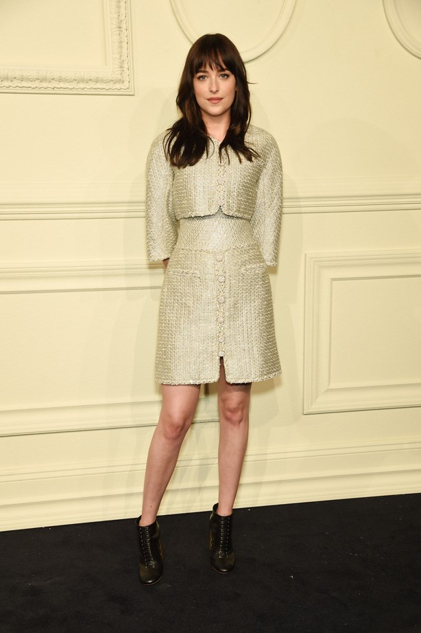 Dakota Johnson wears Chanel to the CHANEL Paris-Salzburg 2014/15 Metiers d'Art Collection at Park Avenue Armory.