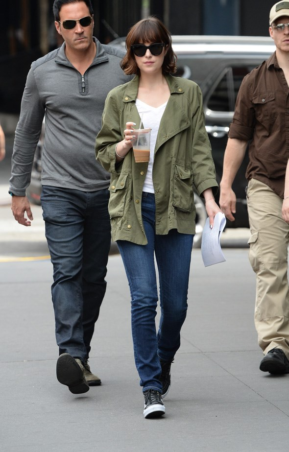 Johnson on the set of her latest film in New York.