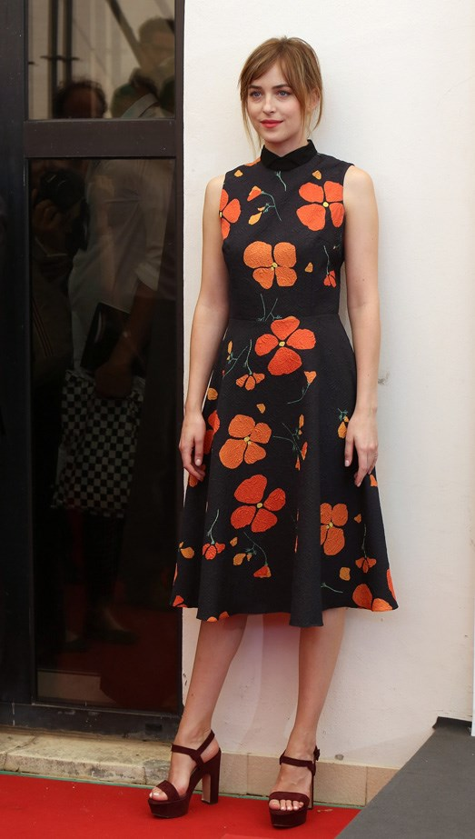 Dakota Johnson wears florals to the photocall for 'A Bigger Splash' during the 72nd Venice Film Festival.