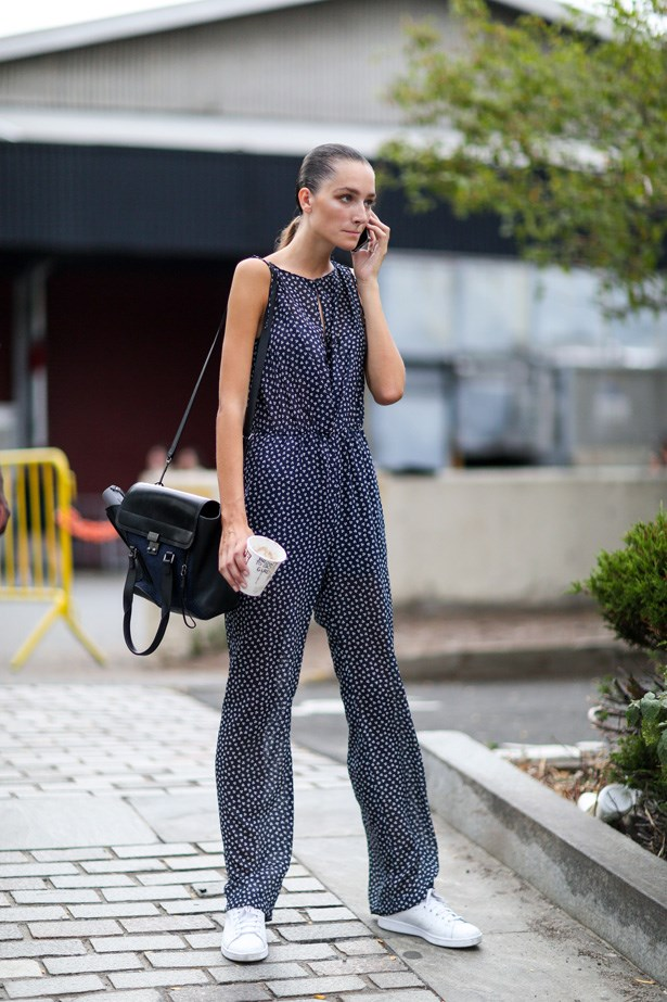 Another jumpsuit styled with the minimalist trainers.