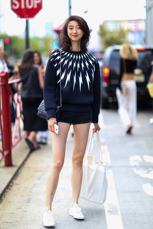 Statement jumper, tiny shorts and trainers. Perfect weekend outfit.
