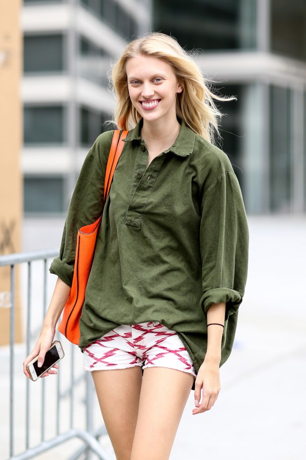 Tiny Isabel Marant shorts and a over sized button up. Too easy.