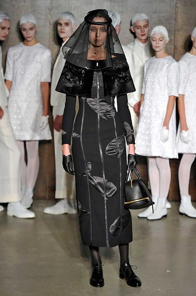 <strong>THOM BROWNE</strong> <BR> <BR> Last season's collection centred around the theme of a funeral parlour, the models head-to-toe in black mourning clothes. Browne's shows are always a spectacle and surprise. Roll on Sunday. We can't wait.