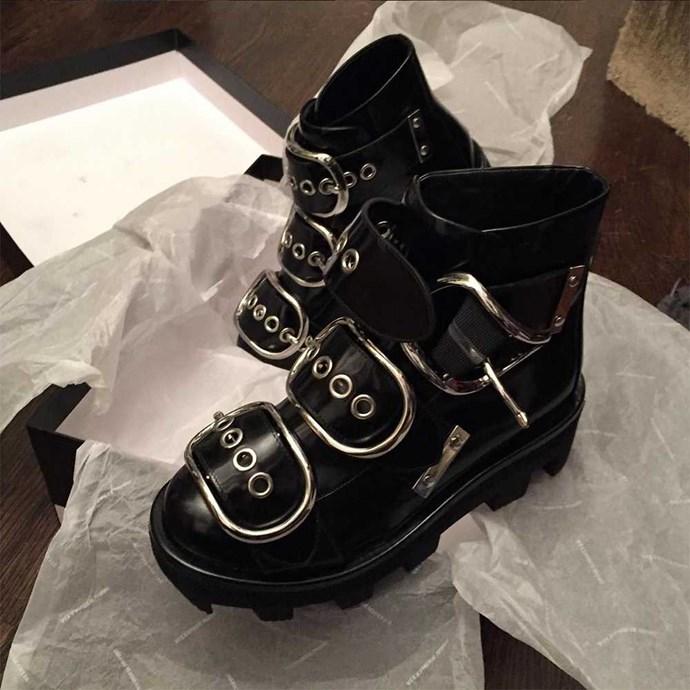 Anna Dello Russo (anna_dello_russo) 'Just arrived! @alexanderwangny boots from @julianfashion #readyforNYfashionweek'