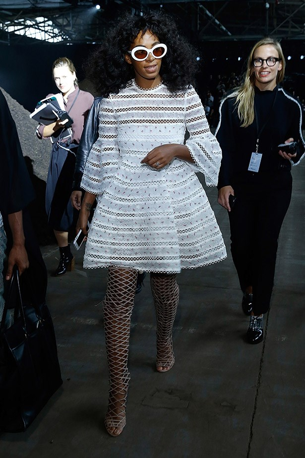 Solange Knowles is totally dominating at New York Fashion Week. Case in point? These thigh-high lace-ups. Dead. We are dead.