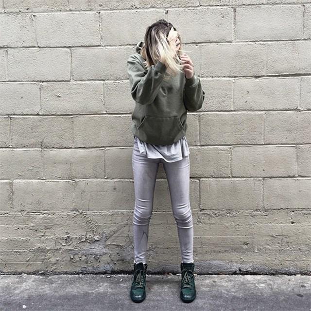 8. She dresses like she's straight off a Kanye West runway. So tonal.