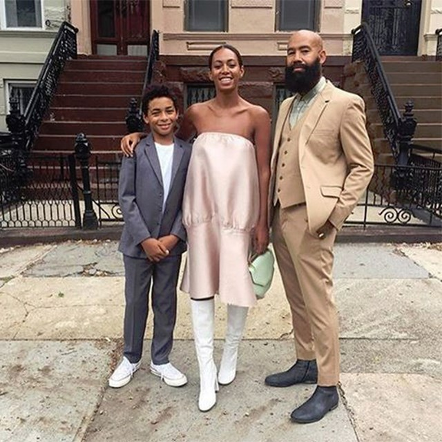Solange Knowles (no big deal) stuns in her Georgia Alice dress at New York Fashion Week.