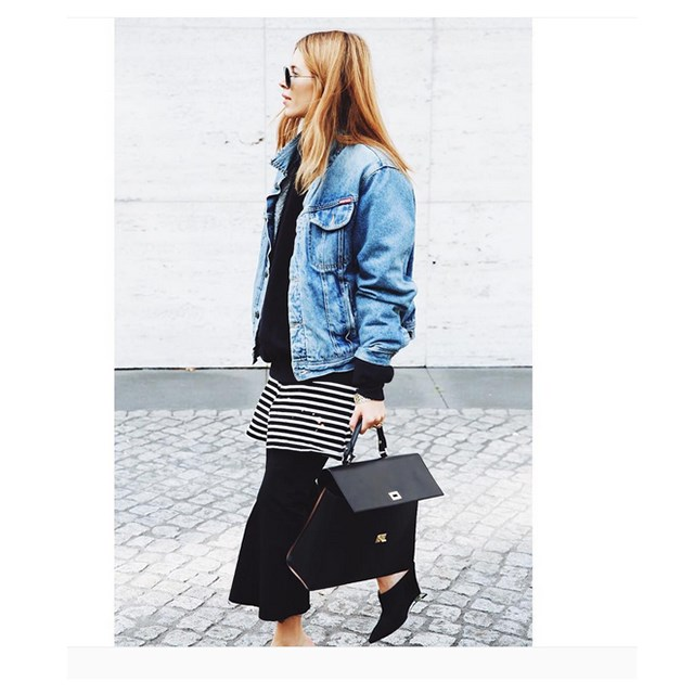 Here Maja Weyhe styles her Georgia Alice skirt with an over sized denim jacket. Too cool.