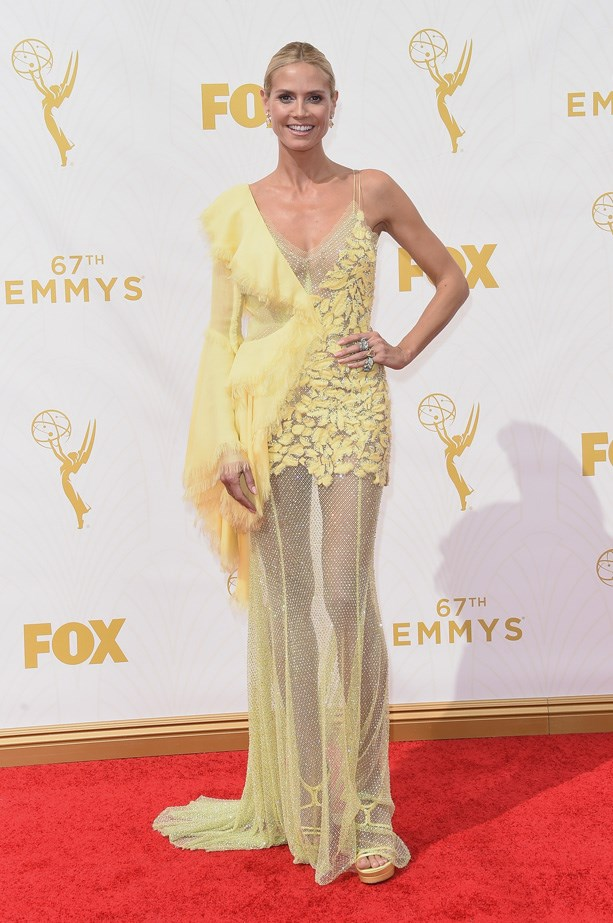 Heidi Klum in a canary yellow Atelier Versace gown and shoes by the designer.