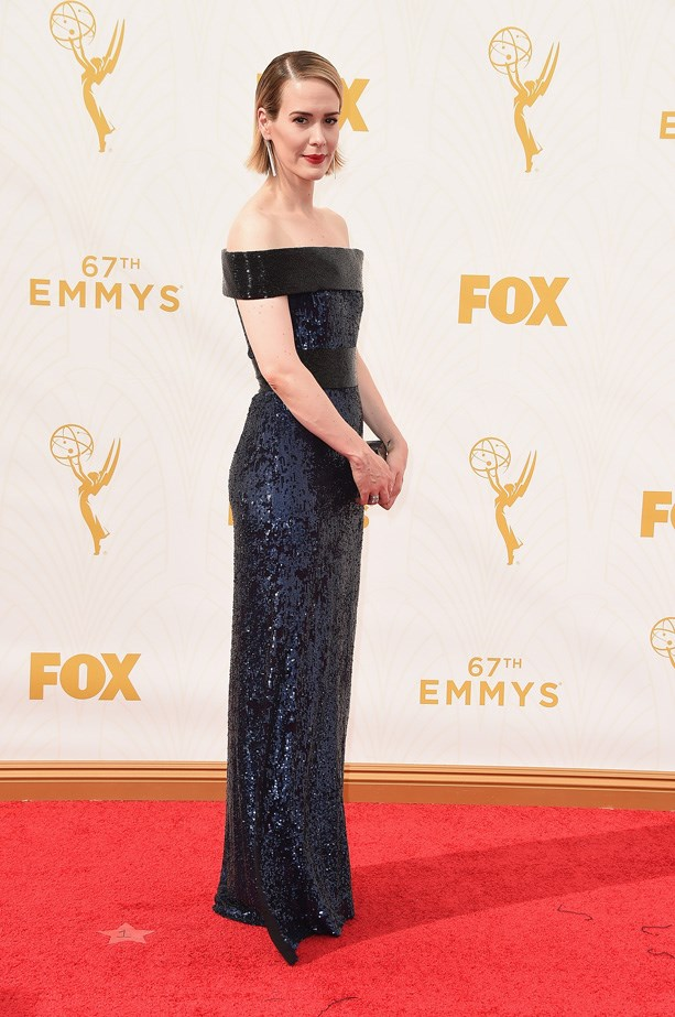 Sarah Paulson gives a cold shoulder in this shimmery gown.