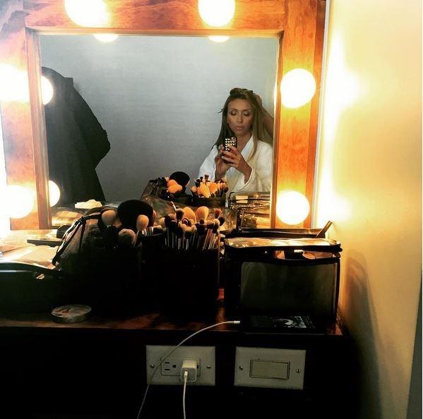 <strong>Giuliana Rancic</strong> <br> <br> <em>Glam time @patrickta @extbymissbrown @monicarosestyle #emmys</em>