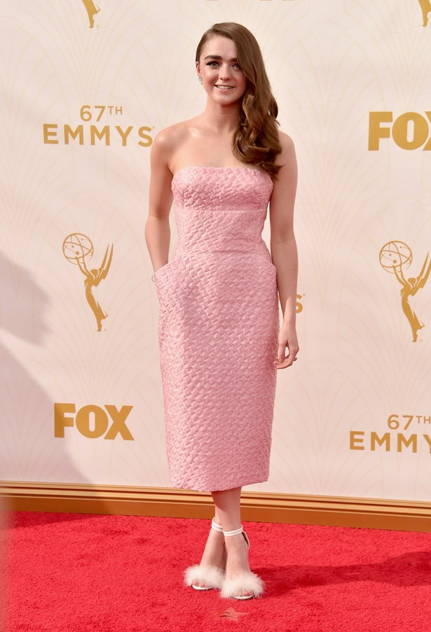 Maisie Williams looks pretty in pink, and those shoes!