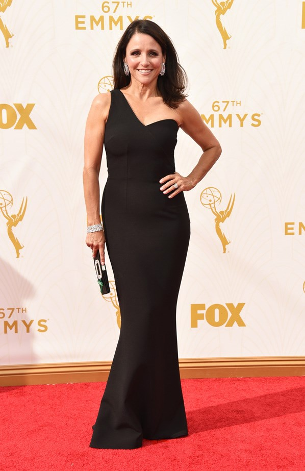 Julia Louis-Dreyfus proves that one-shoulder dresses are making a comeback.