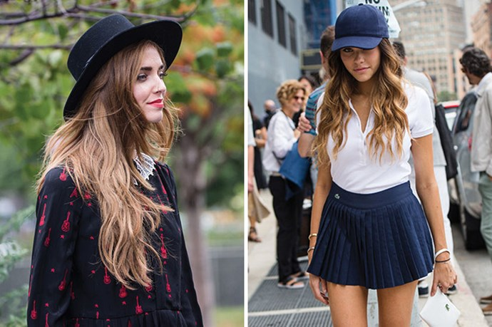 <strong>Don't Discard The Hair Under Your Hat </strong> <br> <br> <em>The Blonde Salad</em> blogger, <em>Chiara Ferragni</em> aka: owner of the best hair ever, understands that a hat doesn't mean you can forget about your hair. Team caps and hats with tousled waves.