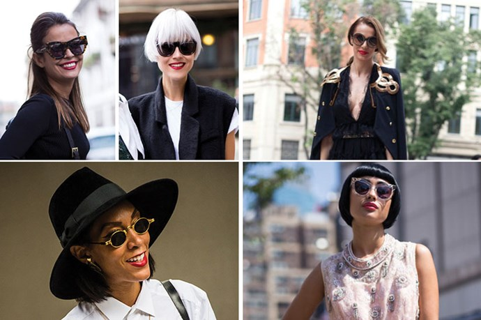 <strong>Red Lips and Bold Sunglasses</strong> <br> <br> Red is the unofficial lip shade of street style stars. Why? Bright fire engine red suits all skin tones and pops for the cameras.
