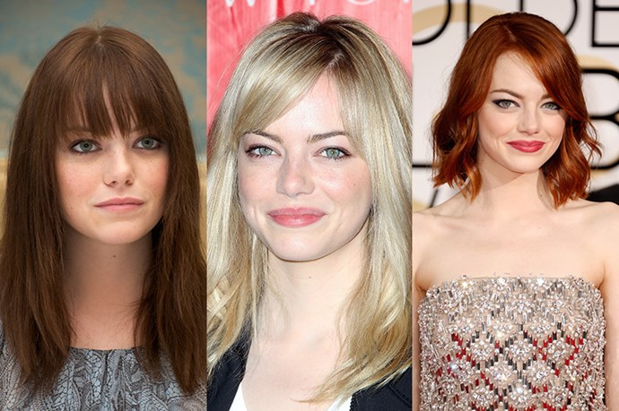 <strong>Emma Stone</strong> <br> <br> Funny girl Emma Stone is a classic hair chameleon who's tried every single colour and cut out there. While some styles have stood the test of time longer than others – like her brief blonde phase in 2014, we still refuse to believe that the Spiderman star is a natural blonde, we'll always love Stone's fiery red hair which looked particularly stunning in the form of a messy, tousled bob at the 2015 Golden Globes.