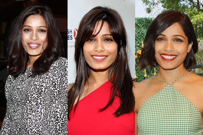 <strong>Freida Pinto</strong> <br> <br> Polished and elegant, Freida Pinto's hair history reads like that university transcript of that A++ Harvard Law graduate, it's 'meet your in-laws for the first time' level flawlessness. A fan of the elegant, mid-length layered cut, Pinto grew out her layers in favour of a longer length and full side fringe in 2013, before changing up her look to a classic bob in May of this year  – proving that classic doesn't equal boring.