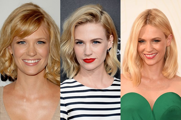 January Jones <br> <br> While the actress might play meek Betty in the hit period piece Mad Men, January Jones champions a perfectly coiffed hair style both on and off screen.  Unlike the other people on this list Jones has gradually gotten longer with her hair styles, which starts off at a warm, honey blonde bob, to a wavy, lighter asymmetrical lob, before she opted for a mid-length cut with light layers. Takeaway point? Don't underestimate the power of a few inches above and below the shoulder line.