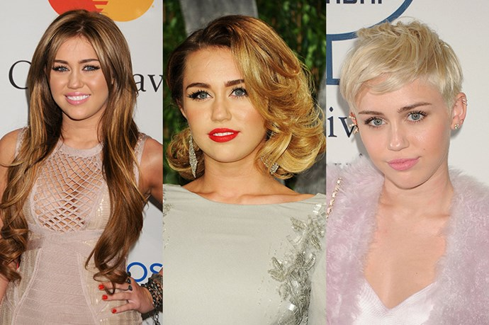 <strong>Miley Cyrus</strong> <br> <br> Miley has come a long way from her Hannah Motanna days in more ways than one. A clear fan of hair extensions, the then-18 year old opted for long layers and loose curls,then  maturing into a retro-inspired, perfectly coifed bob in 2012, before evolving to the Miley we know and love today with her platinum, pixie cut. While it's definitely not a cut that will suit everybody, it perfectly accompanies Cyrus' rule-breaking attitude.