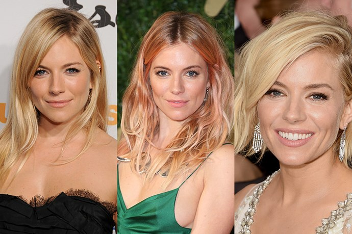 <strong>Sienna Miller </strong> <br> <br> The British actress and fashion muse to the likes of Karl Lagerfeld, and Christopher Bailey, it's no surprise the Sienna Miller also features on multiple Pinterest 'Hairspiration' boards.  Known for her criminally perfect tousled hairstyles, Miller has sported various cuts from her lightly layered and subtly flicked-out ends, to her brief flirtation with colour at the 2013 British Fashion Awards and now undeniably chic, wavy bob.