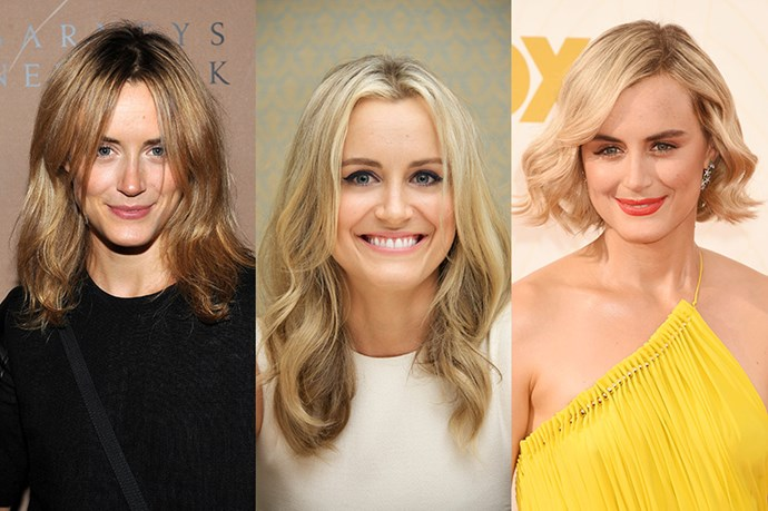 <strong>Taylor Schilling </strong> <br> <br> Up till this year Taylor Schilling has mainly opted for a mid-length, lightly layered hair with a centre part. Case in point? 2011 where the OITNB star (to-be) rocked a warm-blonde,  collarbone-length cut with long wispy strands around her face that enhance her bone structure, and 2013 which saw the actress shift her hair colour to a creamier blonde, in a slightly longer length and grown out layers. However we have to applaud Schilling's recent bold, chin-skimming change, which shows off her high cheekbones and strong bone structure.