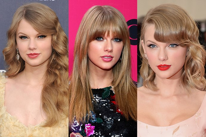 <strong>Taylor Swift</strong> <br> <br> Whether she's playing a retro sweetheart or her 'Bad Bood'self, Taylor Swift has never been one to shy away from a dramatic hair switch up.  Although her long, warm layered hair 2005 Swift will always be reminiscent of her 'Love Story' days, Swift later toyed around with fringe benefits adding a wispy, eye skimming full fringe and choppy layers, before adding a 60s, retro flair to her hair ensemble with a pin-curled side fringe and curled lob.