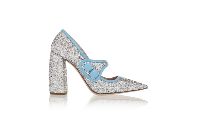"<a href=""http://www.net-a-porter.com/au/en/product/614725"">Miu Miu, Glittered patent-leather pumps, $803.18.</a>"