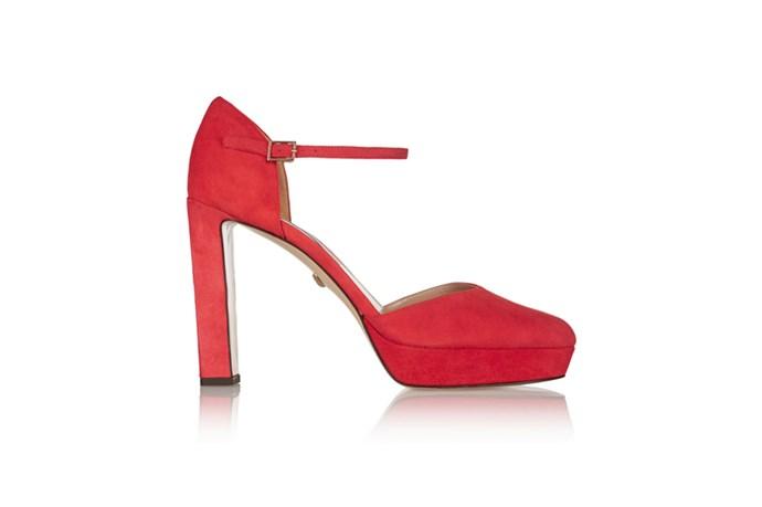 "<a href=""http://www.net-a-porter.com/au/en/product/574478"">Diane Von Furstenburg, Mika suede platform pumps, $422.66.</a>"