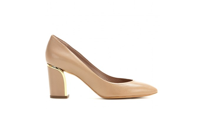 "<a href=""http://www.mytheresa.com/en-au/beckie-leather-pumps-363204.html"">Chloe, Beckie leather pumps, $815.</a>"