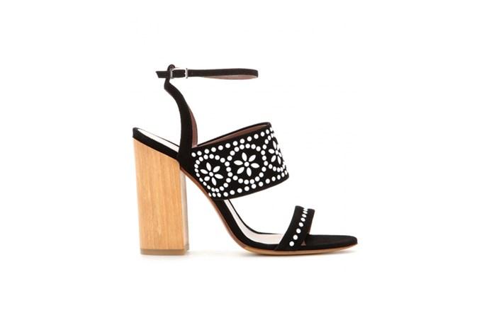 "<a href=""http://www.mytheresa.com/en-au/blaze-embellished-suede-sandals.html"">Tabitha Simmons, Blaze embellished suede sandals, $995.</a>"