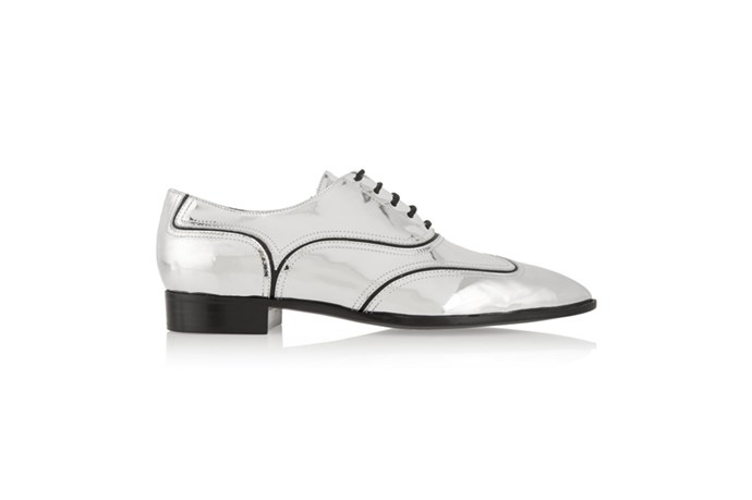 "<a href=""http://www.net-a-porter.com/au/en/product/571038"">Giuseppe Zanotti, Guns metallic leather brogues, $711.62.</a>"