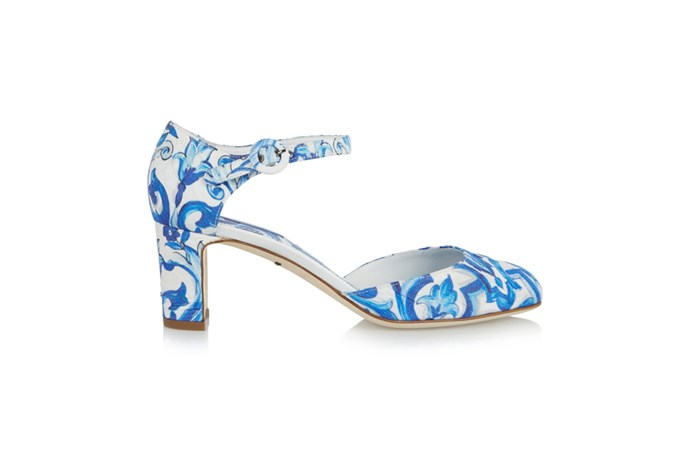 "<a href=""http://www.net-a-porter.com/au/en/product/566665"">Dolce & Gabbana, Printed faille Mary Jane pumps, $1,300.62.</a>"