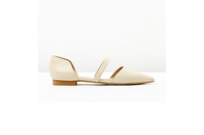 "<a href=""http://www.themodecollective.com/all-shoes?product_id=464"">The Mode Collective, Mid Strap Point Flat, $239.00.</a>"