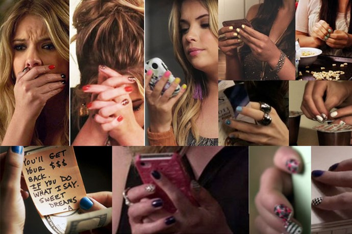 <em><strong>Pretty Little Liars </strong></em> <br> <br> The only good thing about the <em>Liars</em> receiving texts and notes from the mysterious '<em>A</em>' is that we get a zoom-in shot of their insanely strong nail art game. <br> <br> These girls know how to rock an accent nail like it's nobody's business.