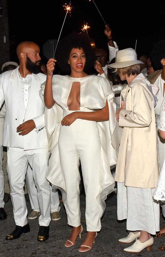 Solange Knowles wore four outfits to her November 2014 wedding in the New Orleans including this Stéphane Rolland Spring 2014 Couture jumpsuit.
