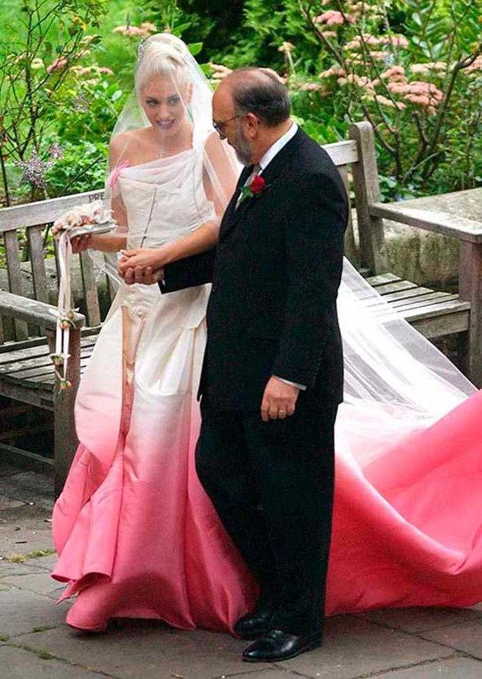 And the bride wore… Pink. Gwen Stefani's dip-dyed dress was by Dior