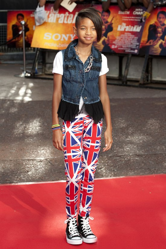<strong><em>Karate Kid</em> Premiere in London, 2010</strong> <BR> <BR> Willow celebrates the Union Jack, which is very fitting at this London premiere.