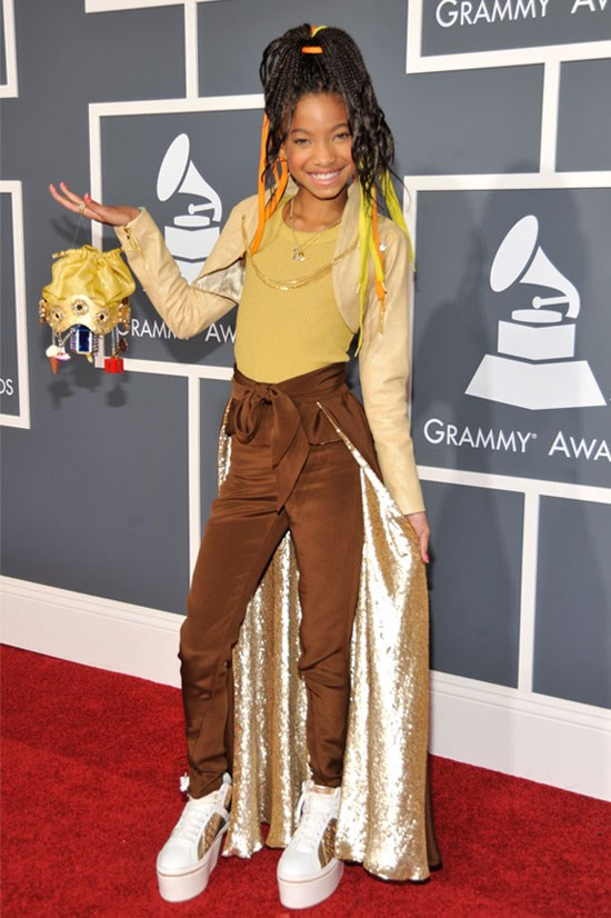 <strong>53rd Annual Grammy Awards, 2011</strong> <BR> <BR> Willow works brown and gold tones, and why haven't we thought of pant capes?