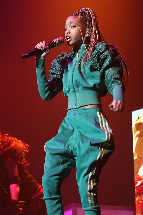 <strong>Willow Smith performs at O2 in Dublin, 2011</strong> <BR> <BR> Willow keeps comfortable yet stylish in this green and gold tracksuit number.